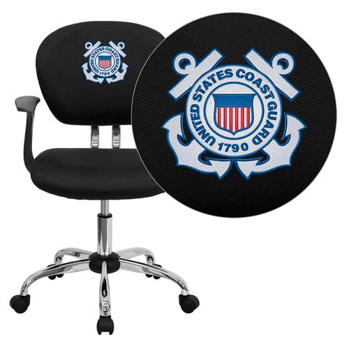 United States Coast Guard Embroidered Black Mesh Task Chair with Arms and Chrome Base