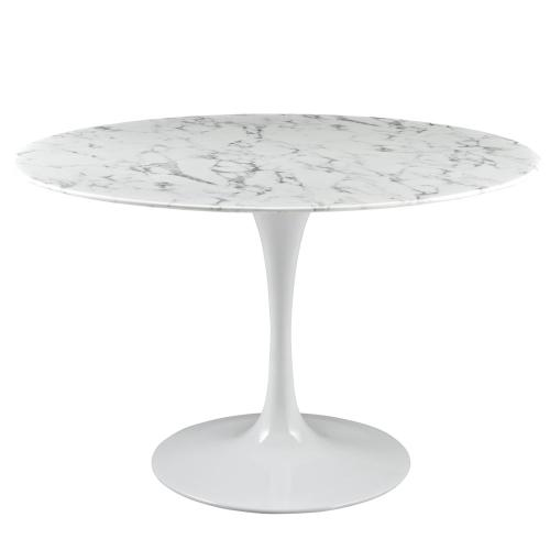 """Lippa 47"""" Round Artificial Marble Dining Table in White"""