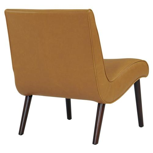 Alexis Bonded Leather Accent Chair Wenge Legs, Vintage Caramel