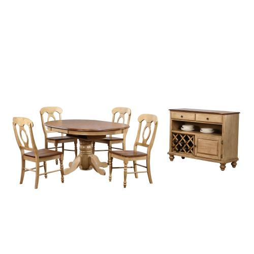 Round or Oval Butterfly Leaf Dining Set w/Server - Brook (6 piece)