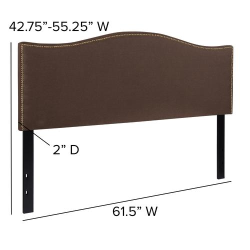 Flash Furniture - Lexington Upholstered Queen Size Headboard with Accent Nail Trim in Dark Brown Fabric