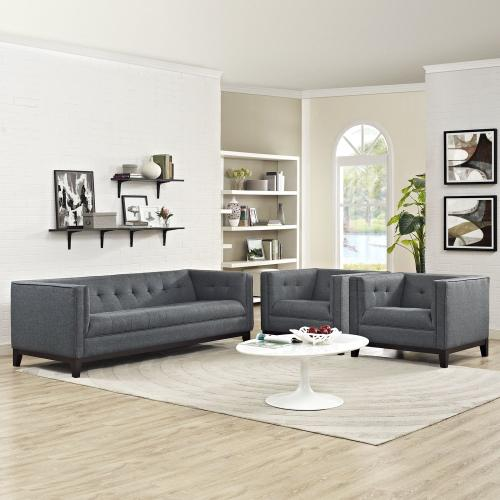 Serve Living Room Set Set of 3 in Gray