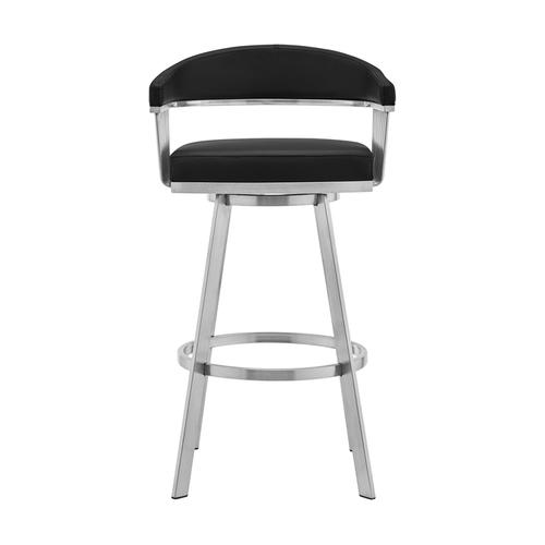 """Chelsea 26"""" Black Faux Leather and Brushed Stainless Steel Swivel Bar Stool"""