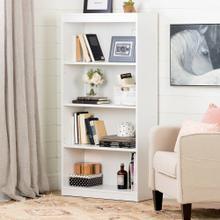 4-Shelf Bookcase - Pure White