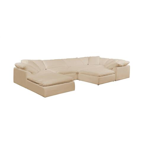 Cloud Puff Slipcovered Modular Sectional Sofa w/Ottomans - 391084 (7 Piece)
