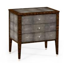 Faux macassar ebony & anthracite shagreen bedside chest