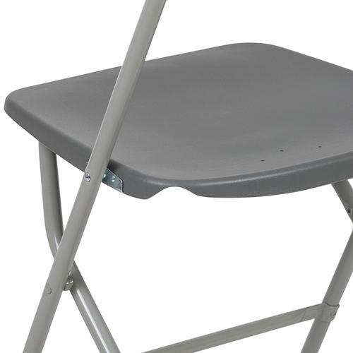 Flash Furniture - Hercules™ Series Plastic Folding Chair - Grey - 650LB Weight Capacity Comfortable Event Chair - Lightweight Folding Chair -