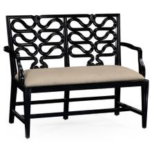 Black Painted Serpentine Open Back Bench