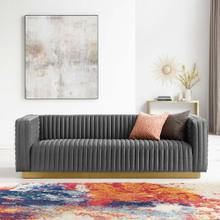 Charisma Channel Tufted Performance Velvet Living Room Sofa in Charcoal
