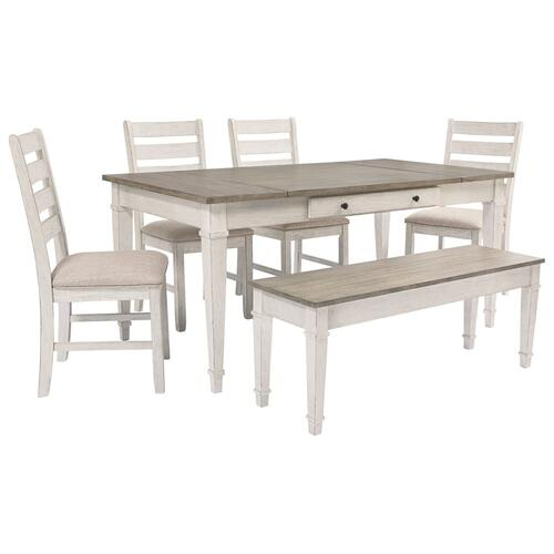 6 Piece Set (Storage Dining Table, 4 Side Chairs and Storage Bench)