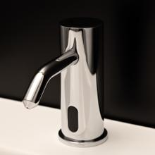 Deck-mount single-hole electronic soap dispenser.