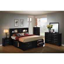 Blemerey 110 Black Wood Storage Bed Group QUEEN & KING Bed Dresser Mirror Night Stand Chest, King