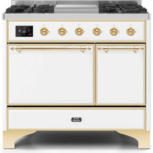 Product Image - Majestic II 40 Inch Dual Fuel Natural Gas Freestanding Range in White with Brass Trim