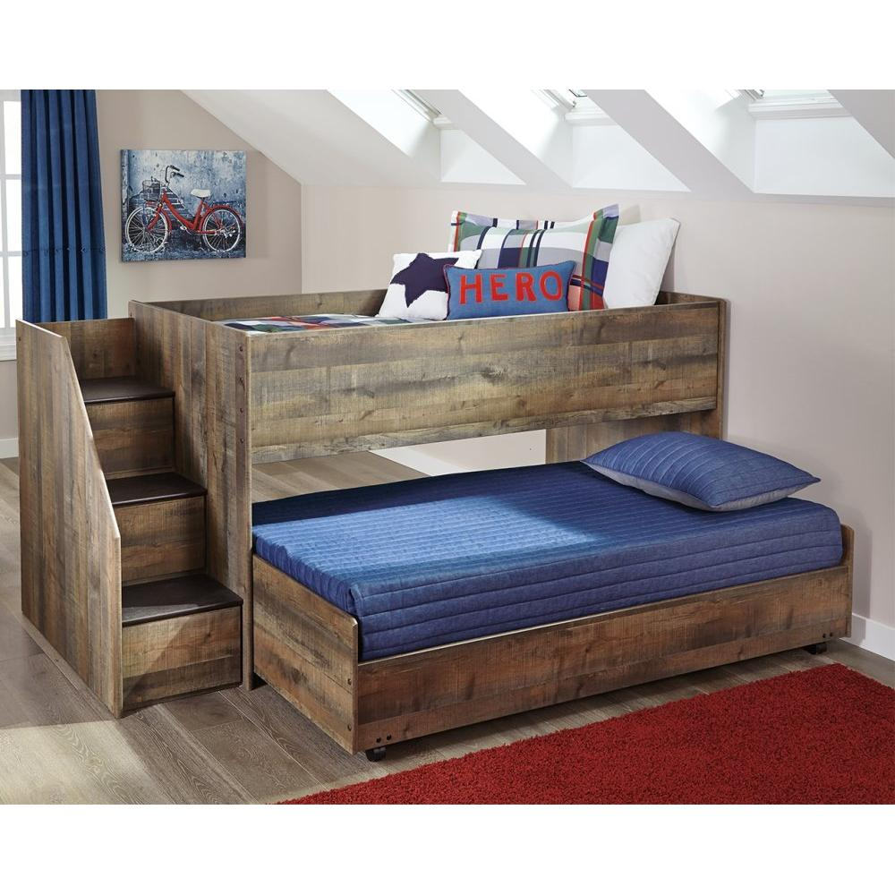 Trinell Twin Loft Bed With Pull-out Caster Bed