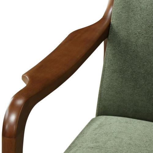 Anton KD Accent Arm Chair Dark Walnut Frame, Studio Dark Green