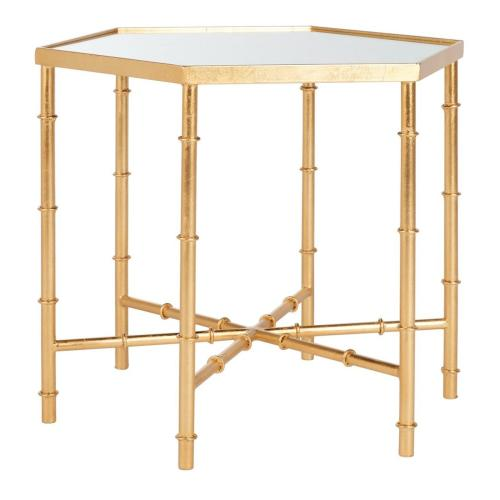 Kerri Gold Leaf Mirror Top Accent Table - Gold