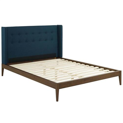 Hadley Queen Wingback Upholstered Polyester Fabric Platform Bed in Blue