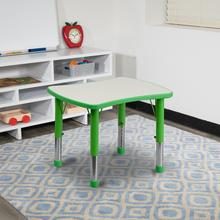 See Details - 21.875''W x 26.625''L Rectangular Green Plastic Height Adjustable Activity Table with Grey Top