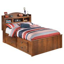 Barchan Full Bookcase Bed With 4 Storage Drawers