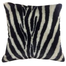See Details - ZEBRA HIDE PILLOW  Faux Hair on Hide- Black  Poly Fill