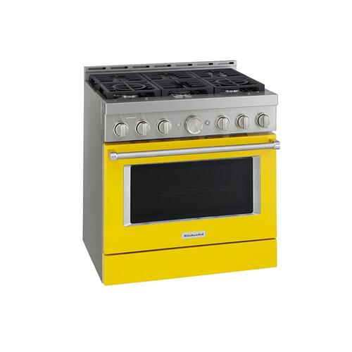 KitchenAid® 36'' Smart Commercial-Style Gas Range with 6 Burners - Yellow Pepper