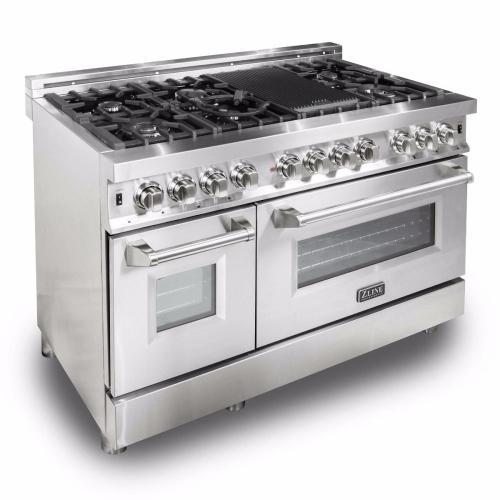 "ZLINE 48"" Professional Stainless Steel 6.0 cu.ft. 7 Gas Burner/Electric Oven Range (RA48)"