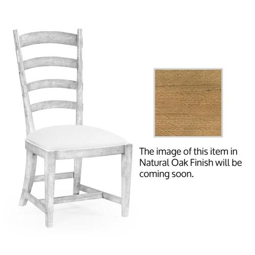 Natural oak ladderback style side chair