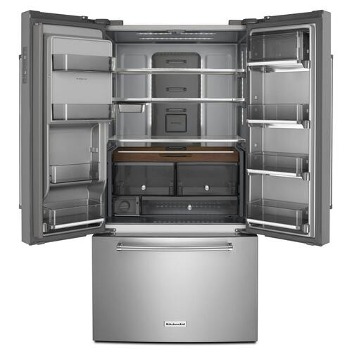 "23.8 cu. ft. 36"" Counter-Depth French Door Platinum Interior Refrigerator with PrintShield™ Finish - Stainless Steel with PrintShield™ Finish"