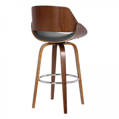 """Armen Living - Mona Contemporary 30"""" Bar Height Swivel Barstool in Walnut Wood Finish and Grey Faux Leather"""