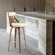 """View Product - Crux 30"""" Swivel Bar Stool in Cream Faux Leather and Walnut Wood"""