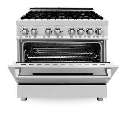 """Zline Kitchen and Bath - ZLINE 36"""" Dual Fuel Range with Gas Stove and Electric Oven in Stainless Steel with Color Door Options (RA36) [Color: Stainless Steel]"""