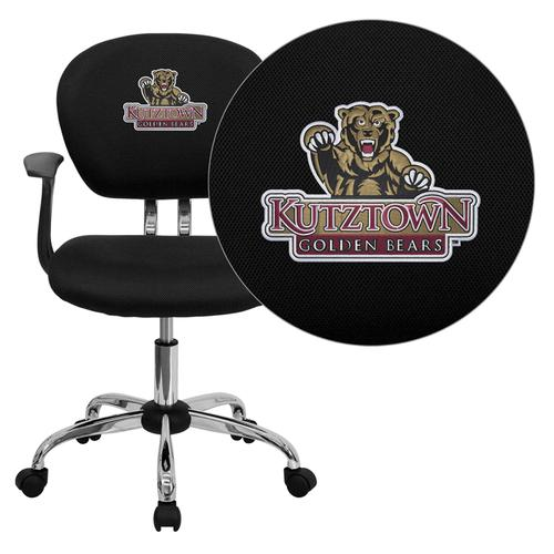 Kutztown University Golden Bears Embroidered Black Mesh Task Chair with Arms and Chrome Base