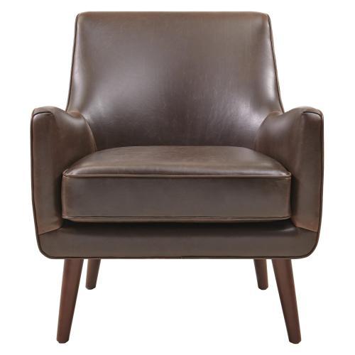 Zoe Bonded Leather Arm Chair Brown Legs, Vintage Dark Brown