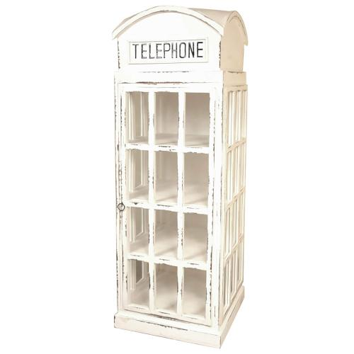 Sunset Trading - English Phone Booth Cabinet - Distressed White