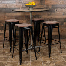 "30"" High Metal Indoor Bar Stool with Wood Seat in Black - Stackable Set of 4"