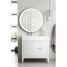 "Linear 36"" Single Bathroom Vanity, Glossy White"
