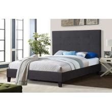 7566 GRAY Fabric Platform Bed - QUEEN