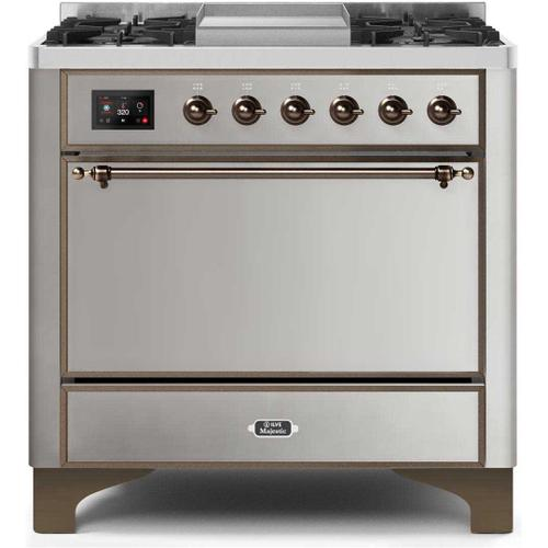 Gallery - Majestic II 36 Inch Dual Fuel Natural Gas Freestanding Range in Stainless Steel with Bronze Trim