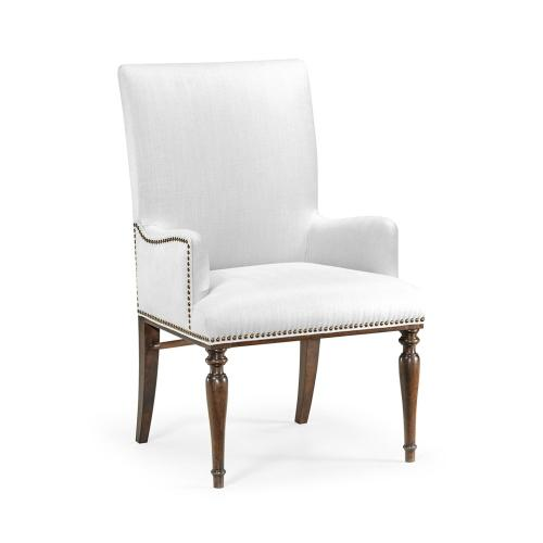 Square Back Bleached Crotch Walnut Dining Armchair, Upholstered in COM