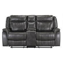 Avalon Manual Motion Swivel Glider Loveseat with Power Strip, Brown
