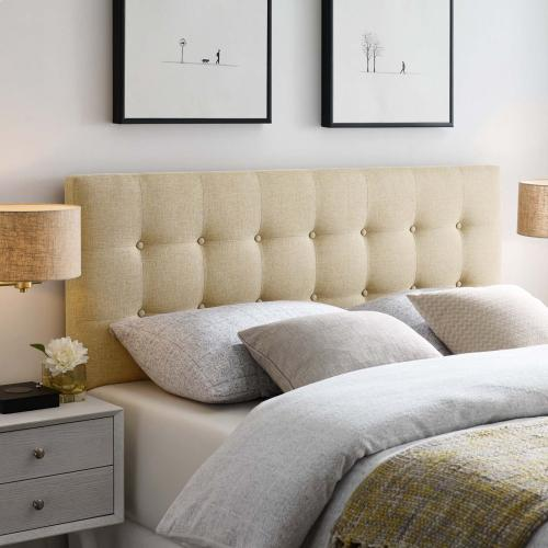 Emily King Upholstered Fabric Headboard in Beige