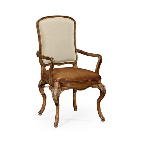 Walnut Arm Chair with DV Medium Antique Chestnut Leather Seat And Fabric Back