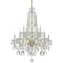 Traditional Crystal 10 Light C lear Swarovski Strass Crystal Brass Chandelier