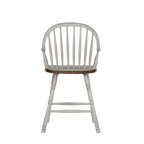 Windsor Bar/Counter Stools w/Arms - Distressed Gray & Brown (Set of 2)