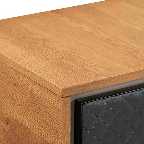 Coco Rustic Oak Wood and Faux Leather Sideboard Cabinets