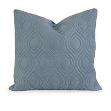 IK Kavita Blue Linen Quilted Pillow w/ Down Fill