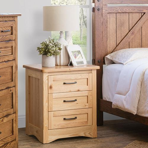 Country Classic Collection - Amish Made Farmstead 3-Drawer Nightstand with Sliding Top Storage