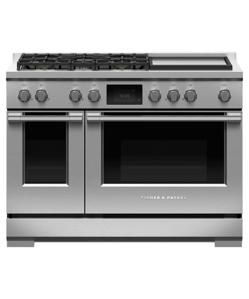 """Fisher & PaykelDual Fuel Range, 48"""", 5 Burners With Griddle, Self-Cleaning"""