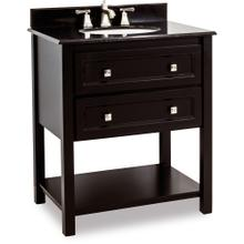 "31-1/2"" vanity with Black finish, clean lines, and complementary satin nickel hardware with preassembled top and bowl."