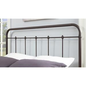 Curved Finial Frame Queen Metal Bed in Antique Brown